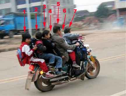 Family of 7 on one bike.