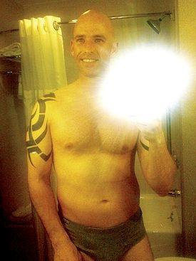Babeu in his underwear, enjoying himself in the mirror