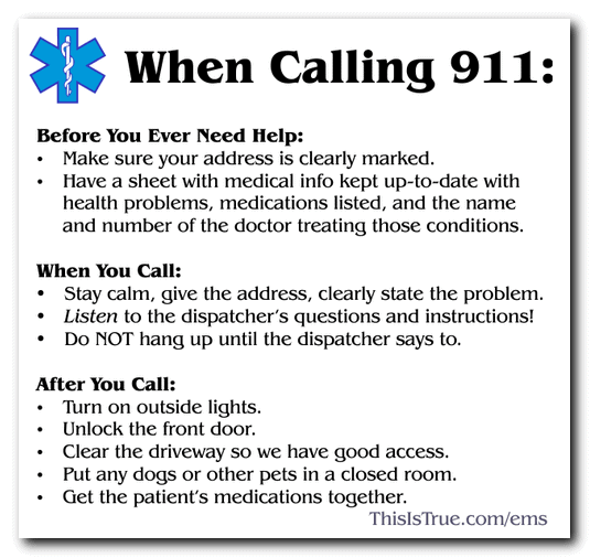 What to do when you call 911 graphic
