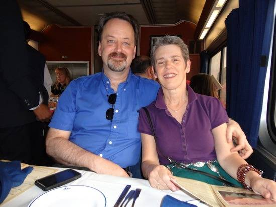 Randy and wife in dining car