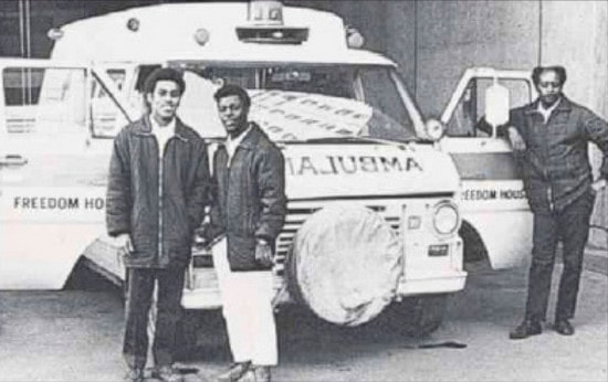 A Freedom House ambulance and crew.