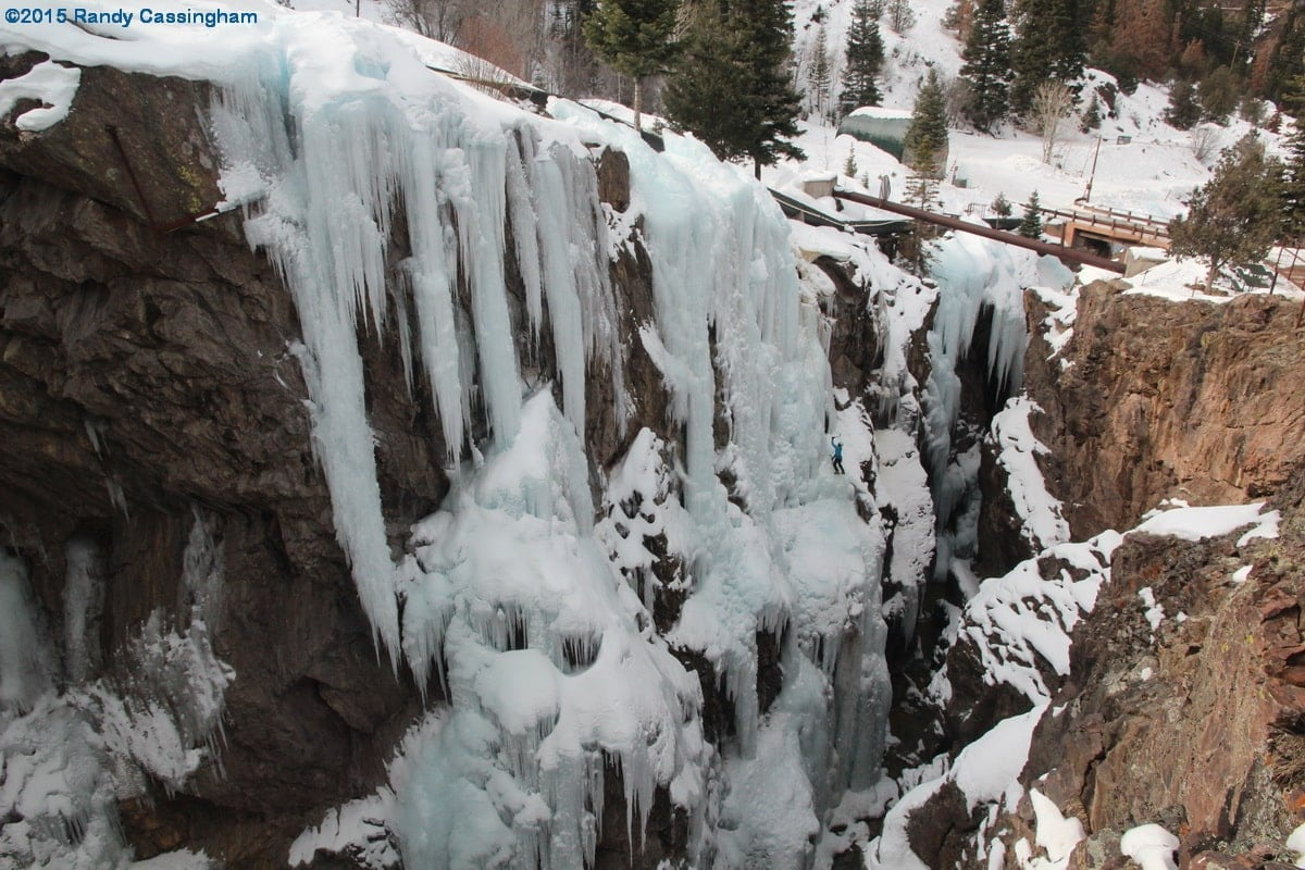 A climber at the Ouray Ice Park