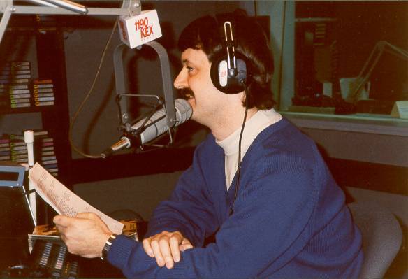 Randy banters with Afternoon Drive host Mark Mason on KEX AM in Portland, Oregon. (Photo by Curt Cassingham)
