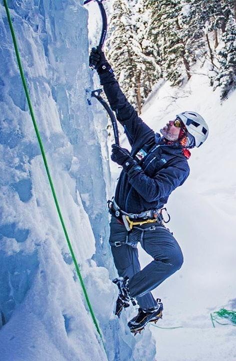 Mark Miller, climbing ice.