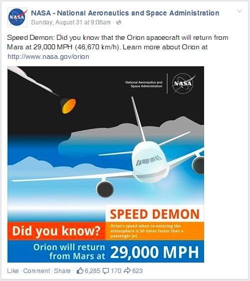 Facebook image posted by NASA