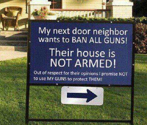 Sign says neighbor has no guns