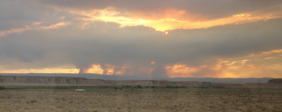 Wildfire as seen from train.