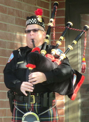 Scott Mills with his pipes