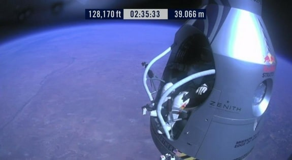 Baumgartner stepping out of the door of his capsule.