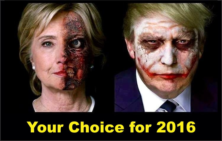 Illustration of Clinton as 'Two-Face' and Trump as 'Joker'
