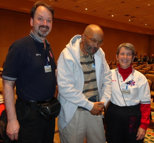 Former Paramedic Walter Brown Jr with Randy and Kit Cassingham.